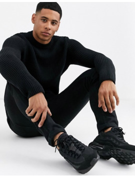 Only & Sons Textured Crew Neck Knitted Jumper In Black by Only & Sons