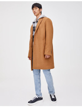 Classic Cut Synthetic Wool Coat by Pull & Bear