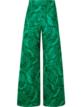 Marvin Printed Crepe Wide Leg Pants by 16 Arlington