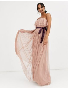 Anaya With Love Bandeau Maxi Tulle Dress With Contrast Waistband In Burgundy by Anaya With Love
