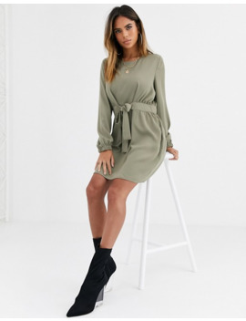 Asos Design Chuck On Tie Waist Mini Dress With Long Sleeves by Asos Design
