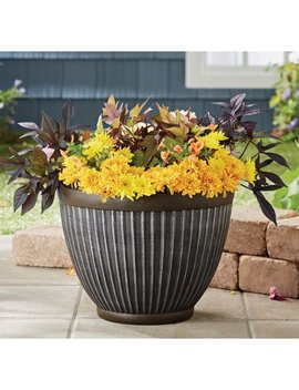 16 In Galvanized Fluted Planter by Better Homes & Gardens