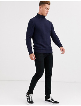 Selected Homme High Neck Textured Jumper In Navy by Selected Homme