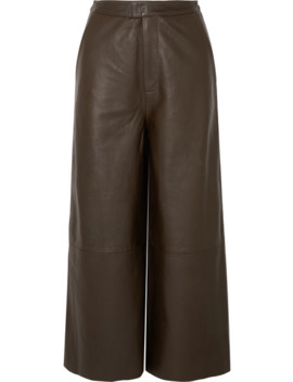 Manu Cropped Leather Wide Leg Pants by Remain Birger Christensen