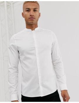 Asos Design Slim Fit Sateen Mandarin Collar Shirt In White by Asos Design