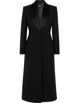 Satin Trimmed Wool Blend Coat by Dolce & Gabbana