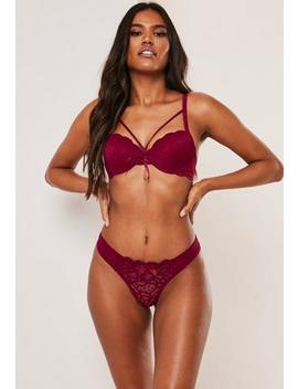 Burgundy Lace Up Padded Bra Thong Set by Missguided