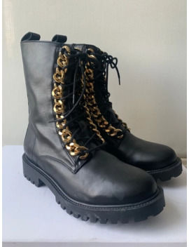 Moschino X H&M Leather Boots + Gold Chain Trim by Moschino  ×