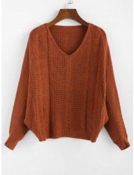 Hot Salezaful X Yasmine Bateman Dolman Sleeves V Neck Solid Open Knit Sweater   Red Dirt S by Zaful