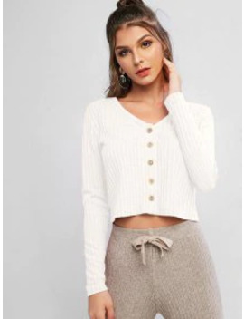 Hot Sale Solid Ribbed Button Up Cardigan   White M by Zaful