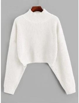Popular Salezaful Drop Shoulder Mock Neck Plain Sweater   White S by Zaful