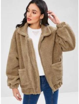 Popular Sale Fluffy Zip Up Winter Teddy Coat   Brown Bear S by Zaful