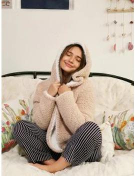 Popular Salezaful X Alexis Ricecakes Hooded Reversible Teddy Coat   Warm White M by Zaful
