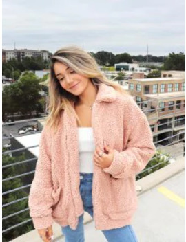 Popular Salezaful X Yasmine Bateman Pocket Zipper Drop Shoulder Fluffy Teddy Coat   Pink M by Zaful