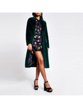 Dark Green Faux Fur Robe Longline Coat by River Island