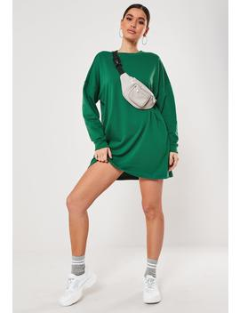 Deep Green Oversized Basic Loopback Sweater Dress by Missguided