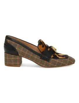 Anton Plaid Calf Hair Heeled Loafers by Louise Et Cie
