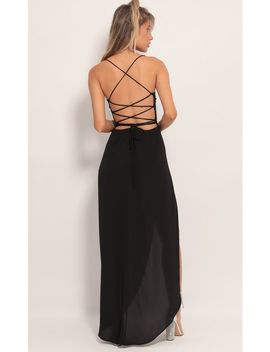 Chiffon Luxe Maxi Dress In Black by Lucy In The Sky