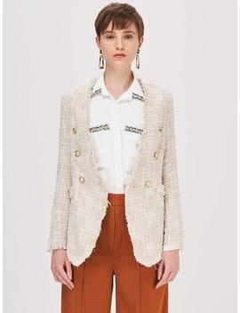 SheinButtoned Raw Trim Tweed Blazer by Sheinside