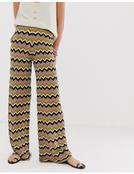 River Island Knitted Wide Leg Trousers In Zig Zag Print by River Island