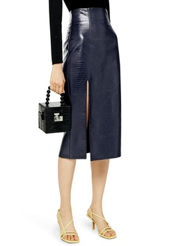Croc Faux Leather Pencil Skirt by Topshop