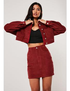 Red Co Ord Cord Mini Skirt by Missguided