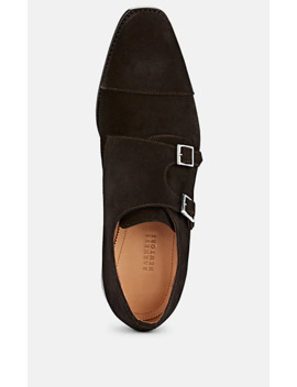 Suede Double Monk Strap Shoes by Barneys New York