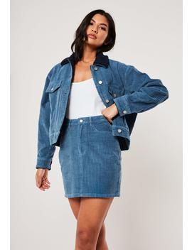Blue Co Ord Cord Mini Skirt by Missguided