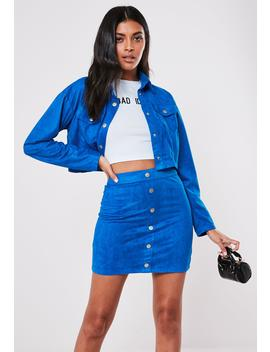 Blue Co Ord Faux Suede Button Front Mini Skirt by Missguided