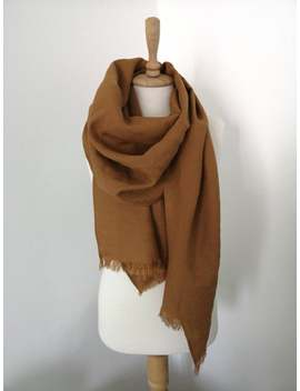 Cinnamon Brown Linen Scarf   Trendy Brown Shawl With Fringes   Casual Outfit Details   Brown Woman Scarf   Travel Wrap   Big Linen Scarf by Etsy