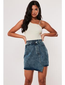 Blue Asymmetric Front Denim Mini Skirt by Missguided
