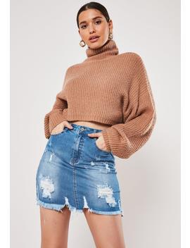 Blue Denim Super Distressed Stretch Mini Skirt by Missguided