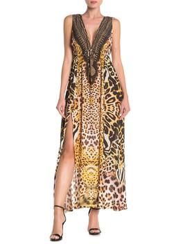 Plunge V Neck Double Slit Maxi Dress by Shahida Parides