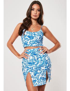Blue Porcelain Print Cami Top And Split Mini Skirt Co Ord Set by Missguided