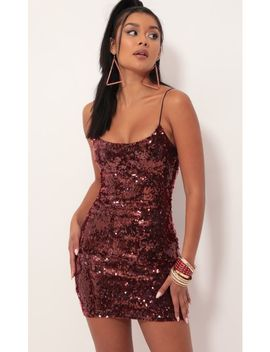 Glisten Sequin Bodycon Dress In Burgundy by Lucy In The Sky