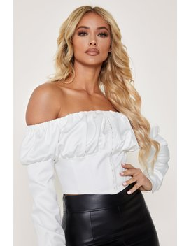 Sigrid Off The Shoulder Corset Crop Top   White by Meshki