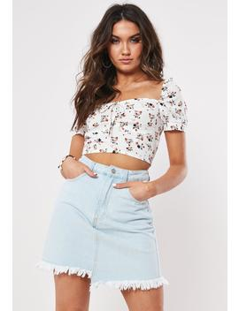 Blue Light Wash Asymmetric Pointed Hem Skirt by Missguided