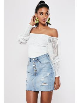 Light Blue Distressed Button Fly Denim Mini Skirt by Missguided