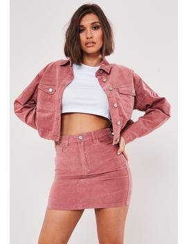 Petite Pink Co Ord Velvet A Line Mini Skirt by Missguided