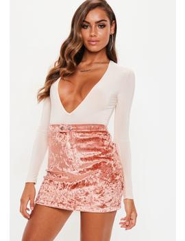 Camel Bonded Velvet Popper Detail Mini Skirt by Missguided