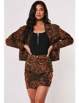 Brown Leopard Print Co Ord Denim Mini Skirt by Missguided