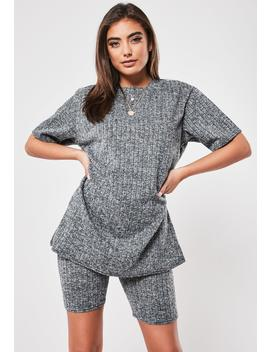 Gray Rib Oversized T Shirt And Cycling Short Co Ord Set by Missguided