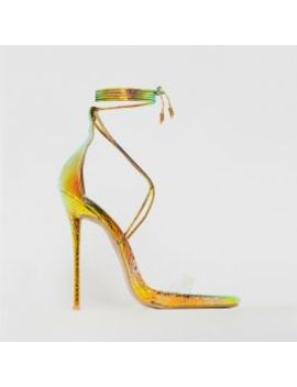Shania Rose Iridescent Snake Print Clear Lace Up Stiletto Heels by Simmigirl