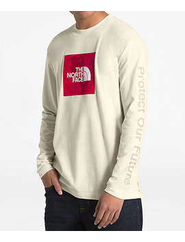 The North Face Recycled Red Box White Long Sleeve T Shirt by Zumiez