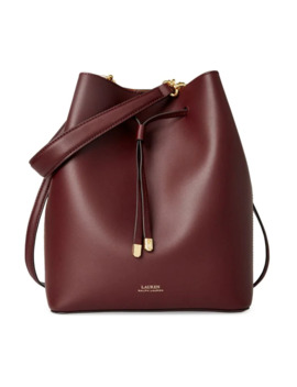 Leather Drawstring Bucket Bag by Lauren Ralph Lauren
