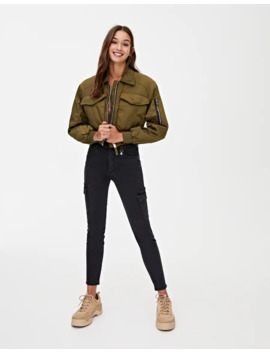 Low Rise Skinny Cargo Trousers by Pull & Bear