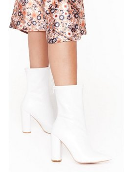 Looking On Point Faux Leather Block Heel Boots by Nasty Gal