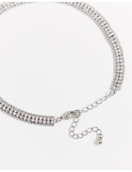 Asos Design Crystal Choker Necklace In Silver Tone by Asos Design