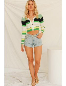Streets Of France Button Front Ribbed Knit Top // Green by Vergegirl