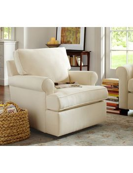 Buchanan Roll Arm Upholstered Swivel Armchair, Polyester Wrapped Cushions, Twill Cream by Pottery Barn
